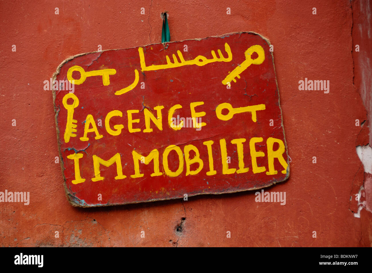 Real Estate Agent Sign Marrakesh Morocco - Stock Image