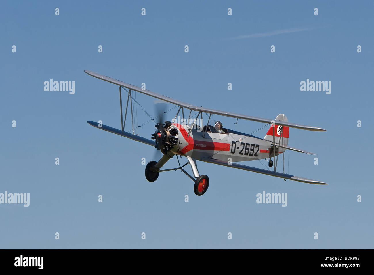 Focke-Wulf Fw-44J Stieglitz, at Little Gransden - Stock Image