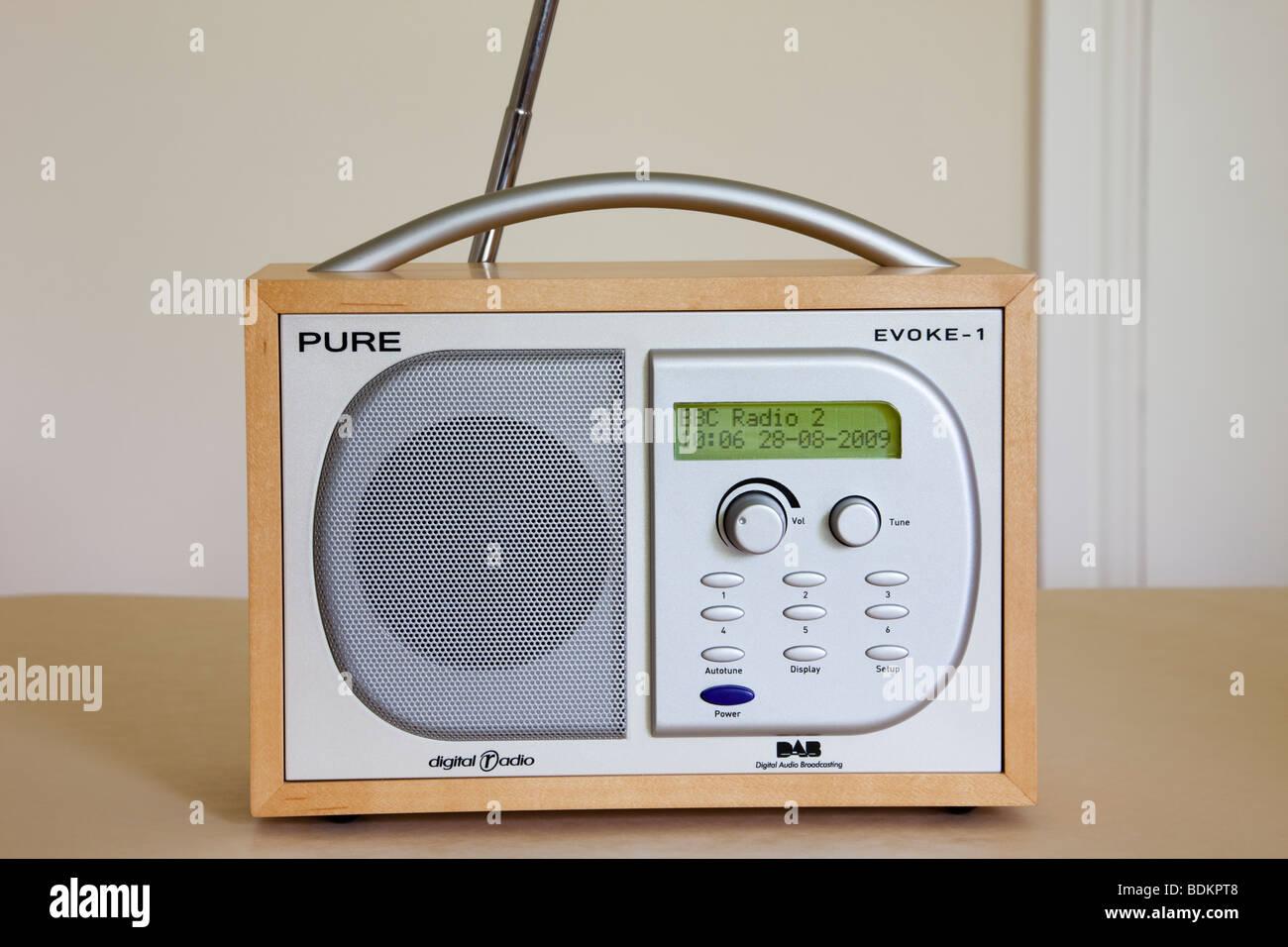 Pure Evoke-1 Retro style DAB digital radio tuned in to BBC radio 2 - Stock Image