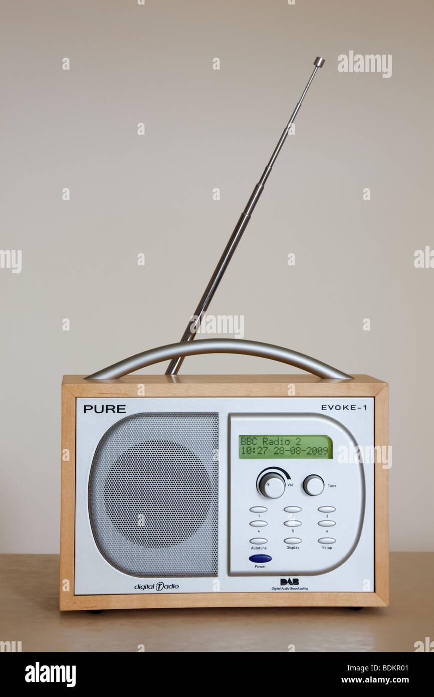UK Pure Evoke-1 Retro style DAB digital radio tuned in to BBC radio 2 - Stock Image