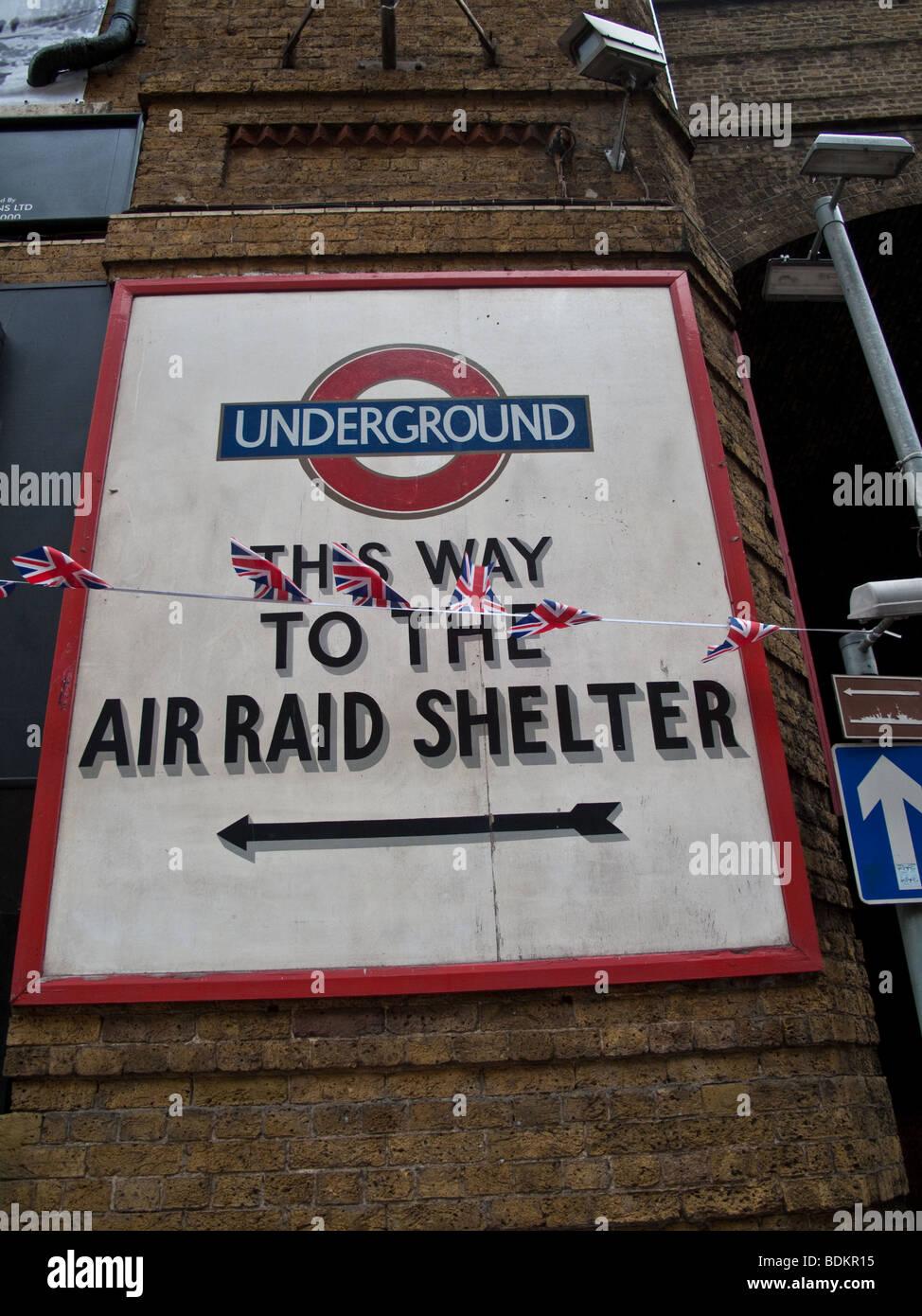 Air Raid Shelter Poster - Stock Image