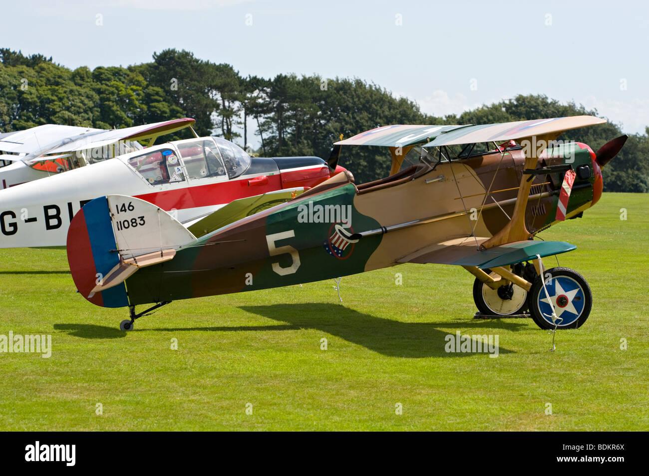 Vintage bi-plane at the Duke of York's Military School, Dover, Kent, UK. - Stock Image