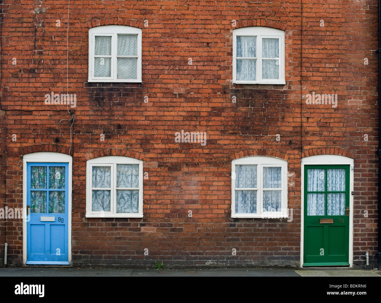 Victorian Terraced houses in Ludlow, Shropshire, England Stock Photo