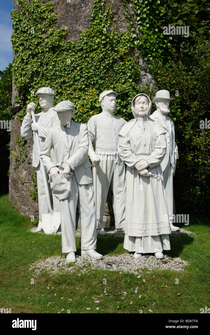 a monument to former workers outside the Engish China Clay Works museum near st.austell in cornwall, uk - Stock Image