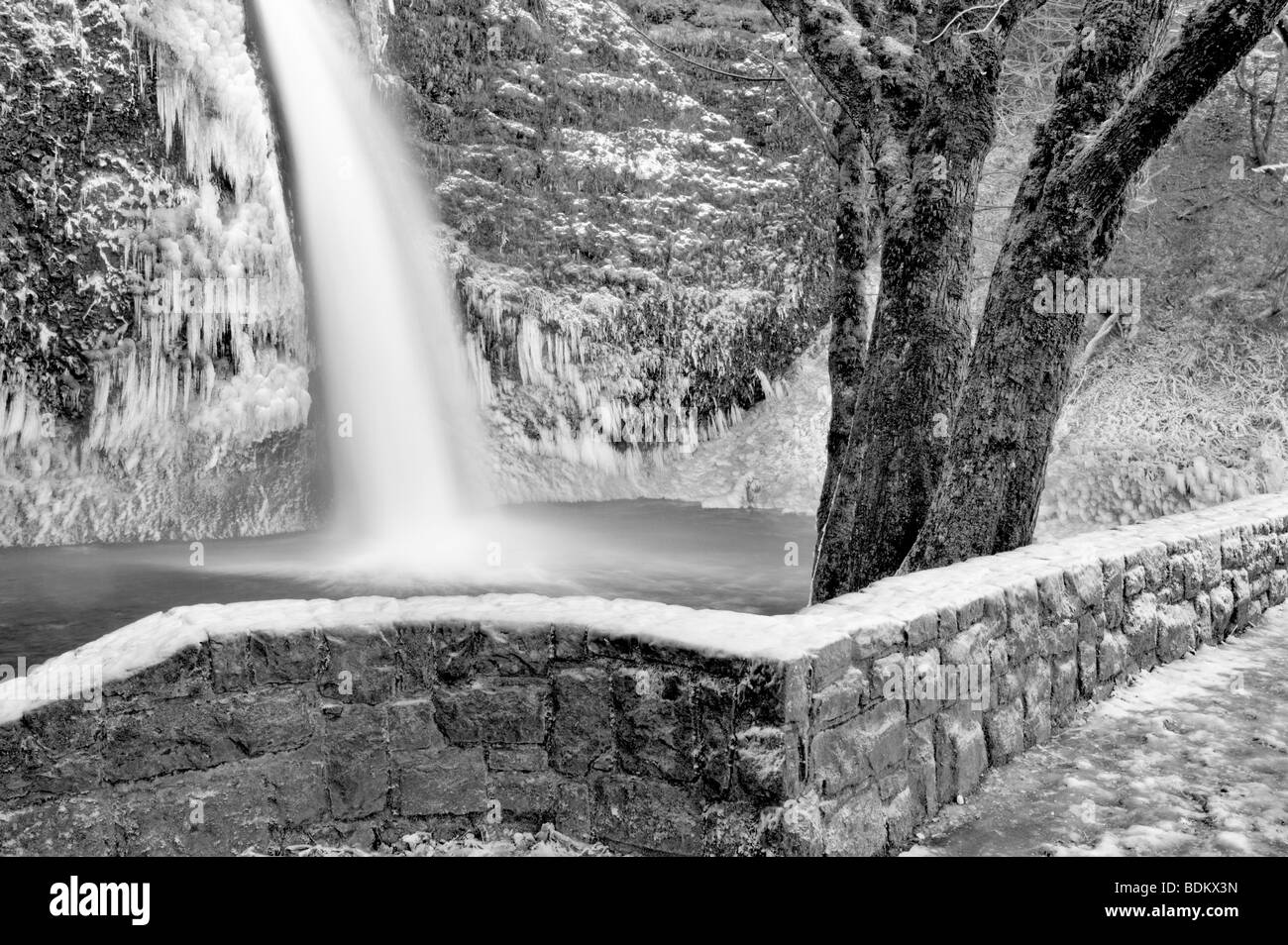 Lower Horsetail Falls with ice and rock wall Columbia River Gorge National Scenic Area Oregon - Stock Image