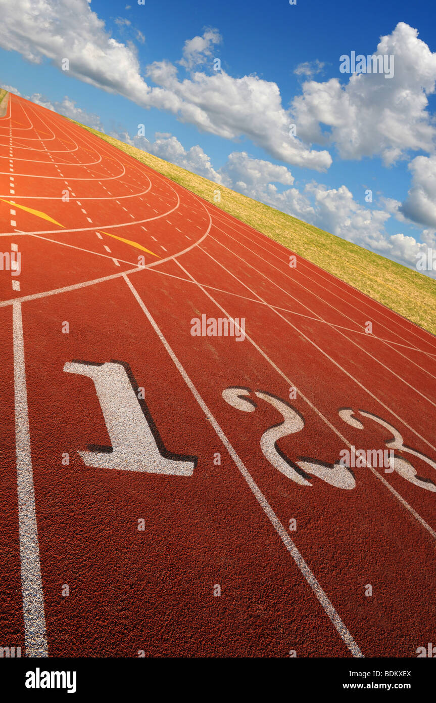 Running lanes at a steep angle during a bright sunny day Stock Photo