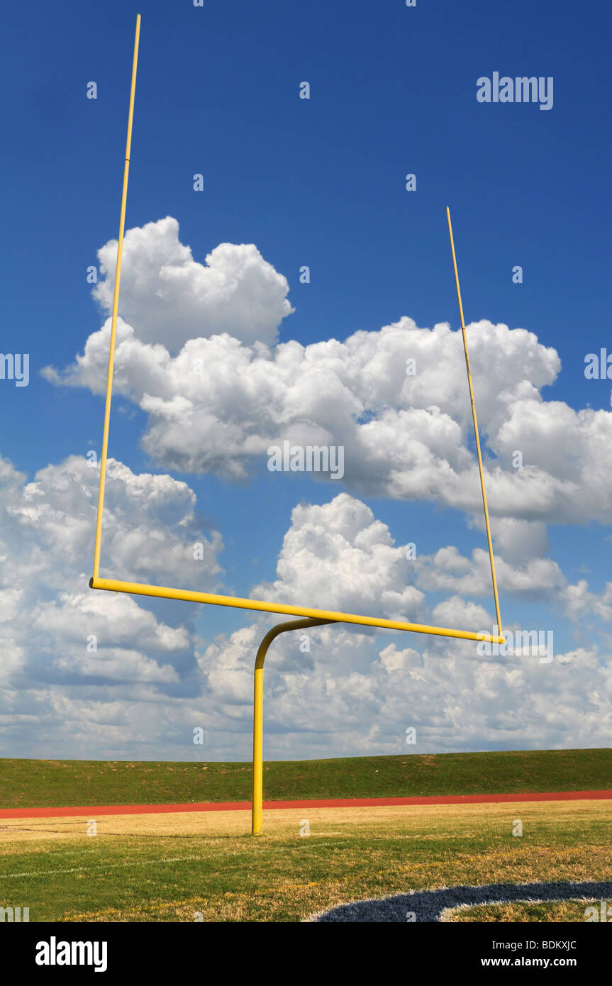 Football goal on a bright sunny day - Stock Image