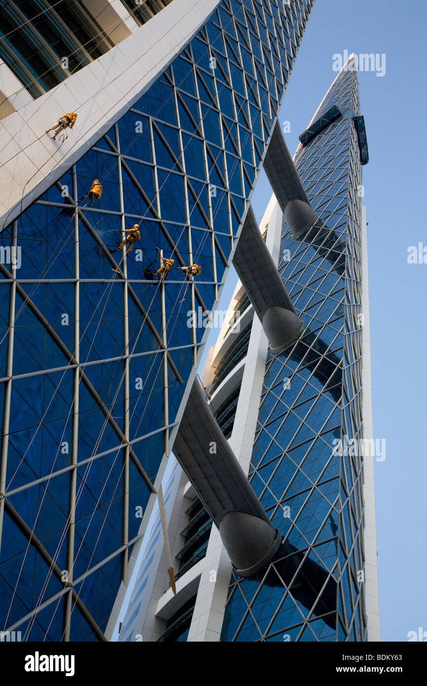 Bahrain World Trade Centre Center Cleaning Rig - Stock Image