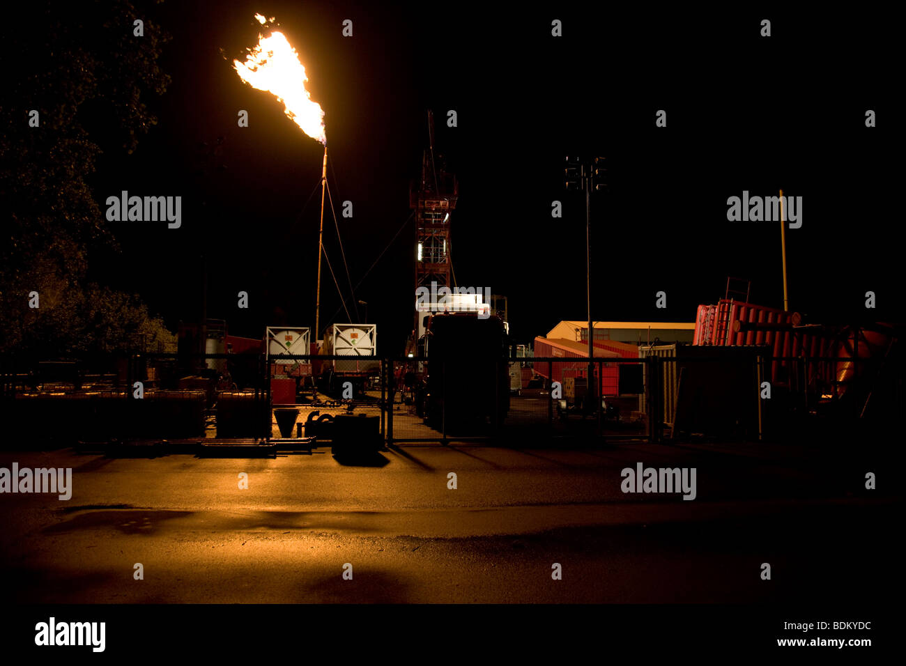 Gas flaring at a gas production site in Lower Saxony, Germany - Stock Image