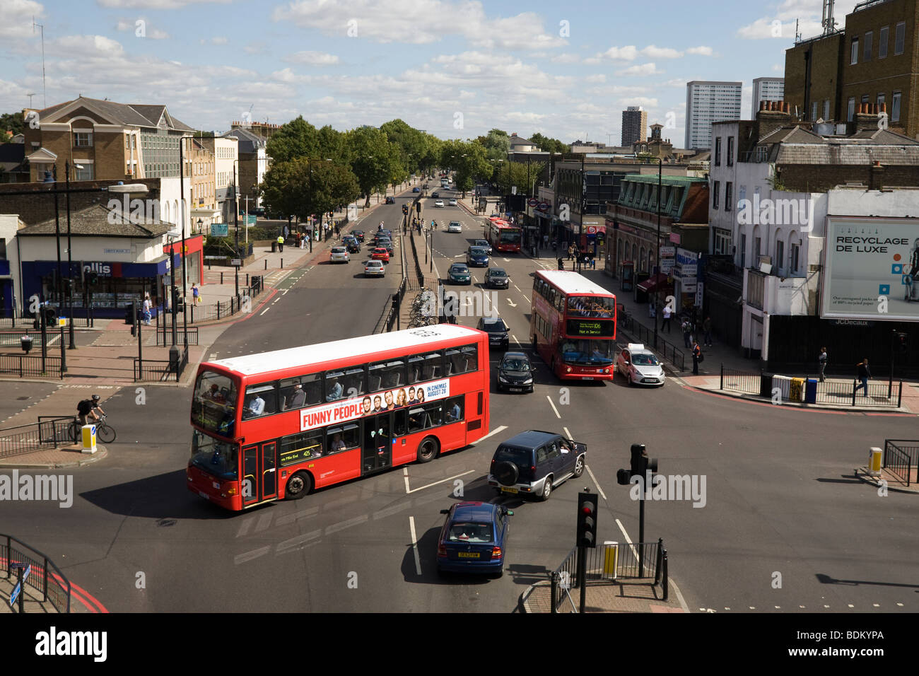 Mile End Road Junction from 'Mile End Park' ' London Borough of Tower Hamlets' Tower Hamlets London - Stock Image