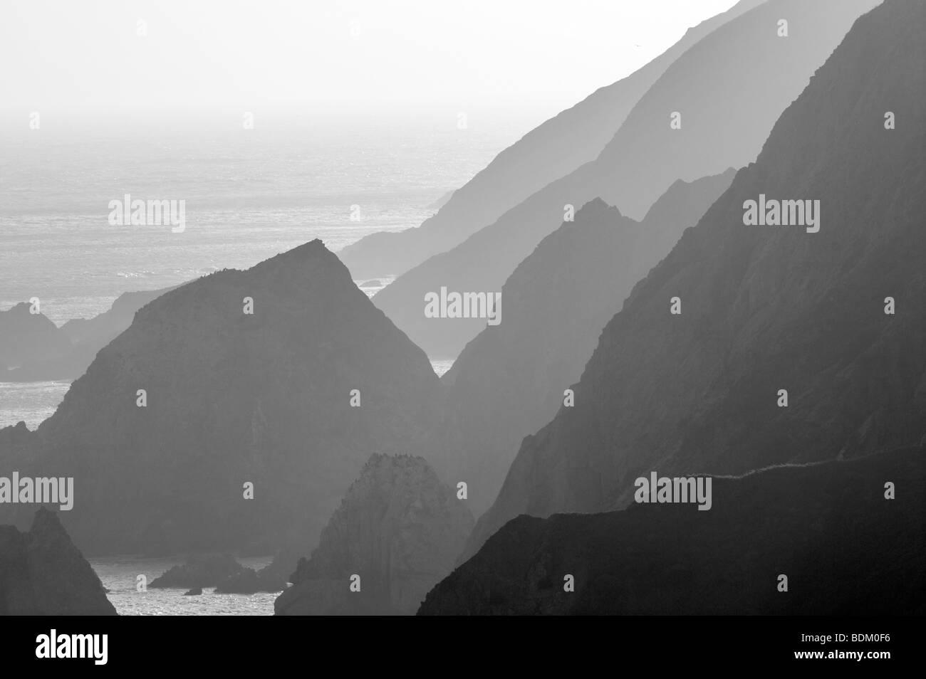 Rocky shoreline at Chimney Rock. Point Reyes National Seashore. California - Stock Image