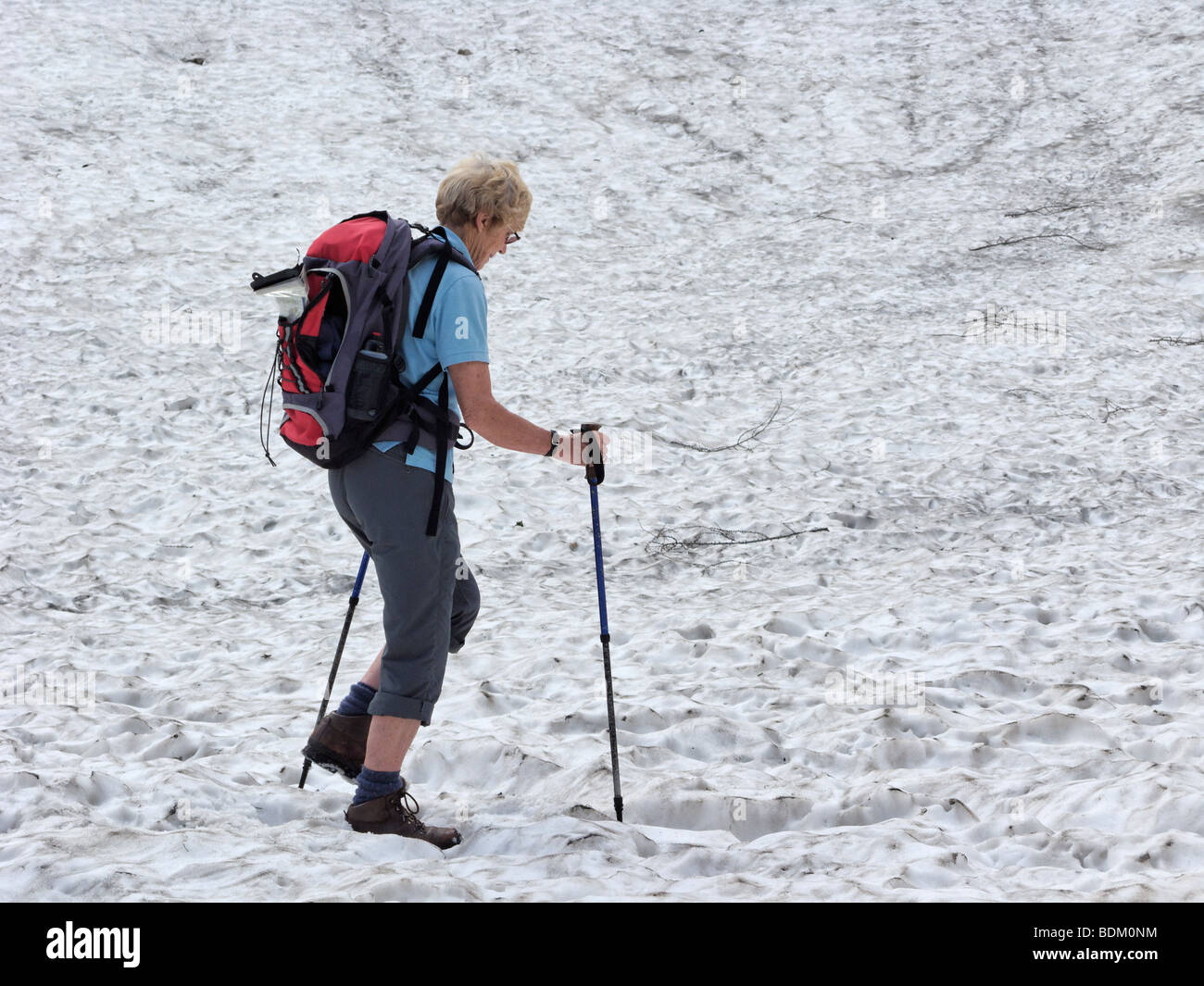 Mature female walking with poles across snowfield. Julian Alps, Slovenia. - Stock Image