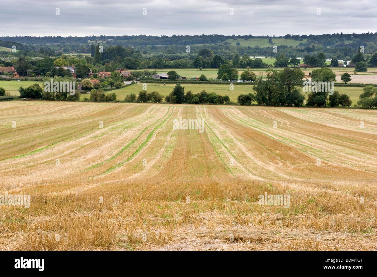 Open countryside and farmland in a Chilterns landscape near Hambleden, Buckinghamshire, UK - Stock Image