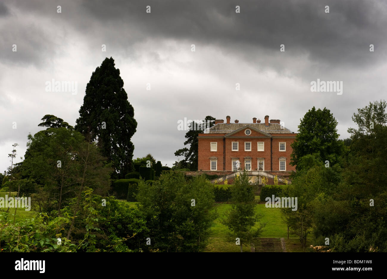 A landscape view Culham House in Chilterns countryside near Hambleden, Buckinghamshire, UK - Stock Image