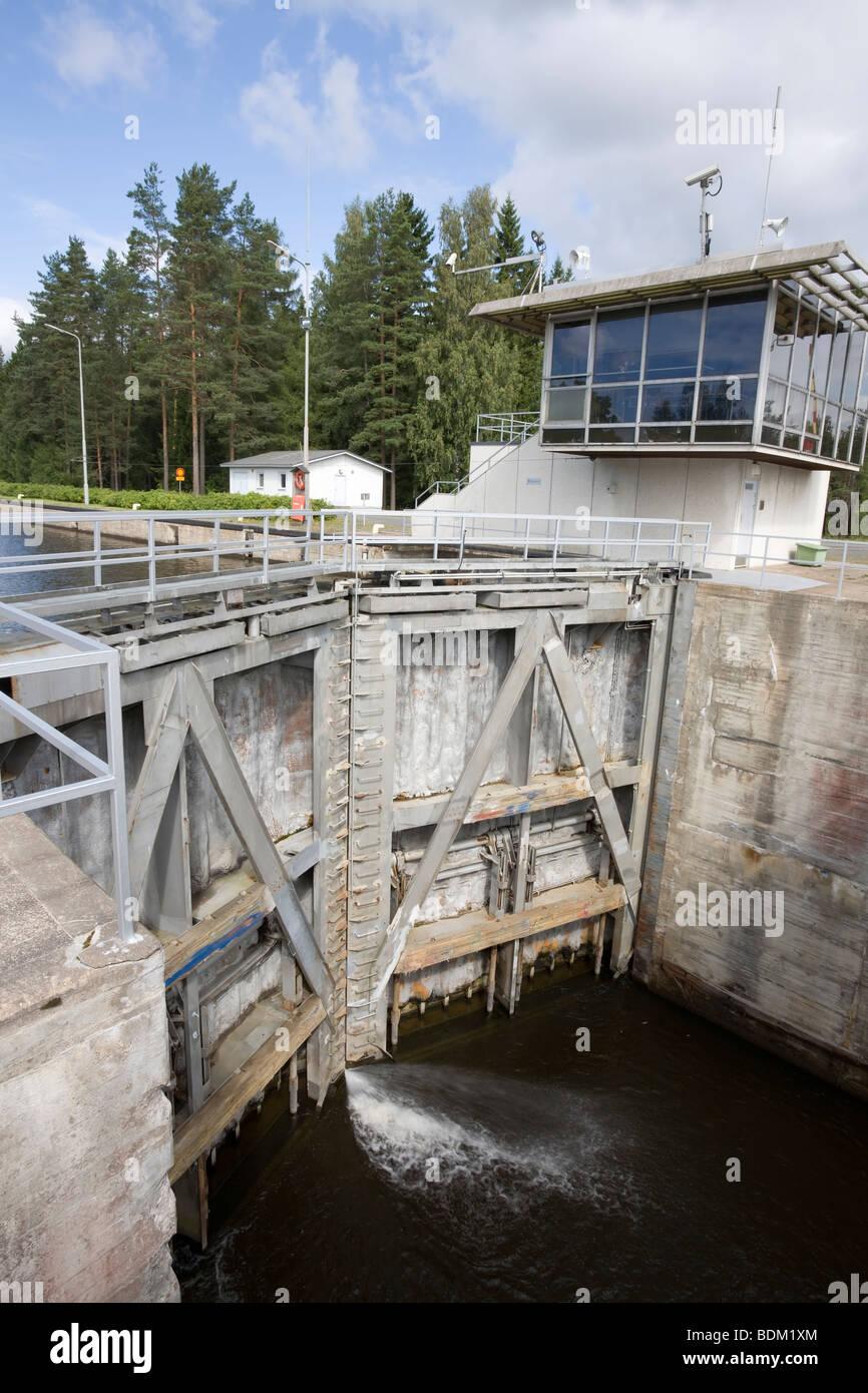 Saimaa canal lock gates in Soskua Lappeenranta Finland - Stock Image