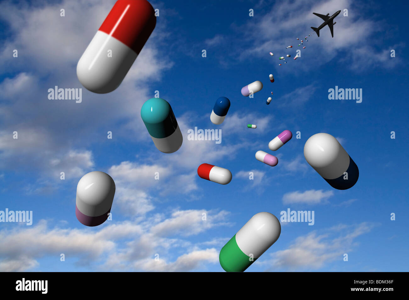 An aircraft 'drops' medicine from the sky as aid. CGI image - Stock Image