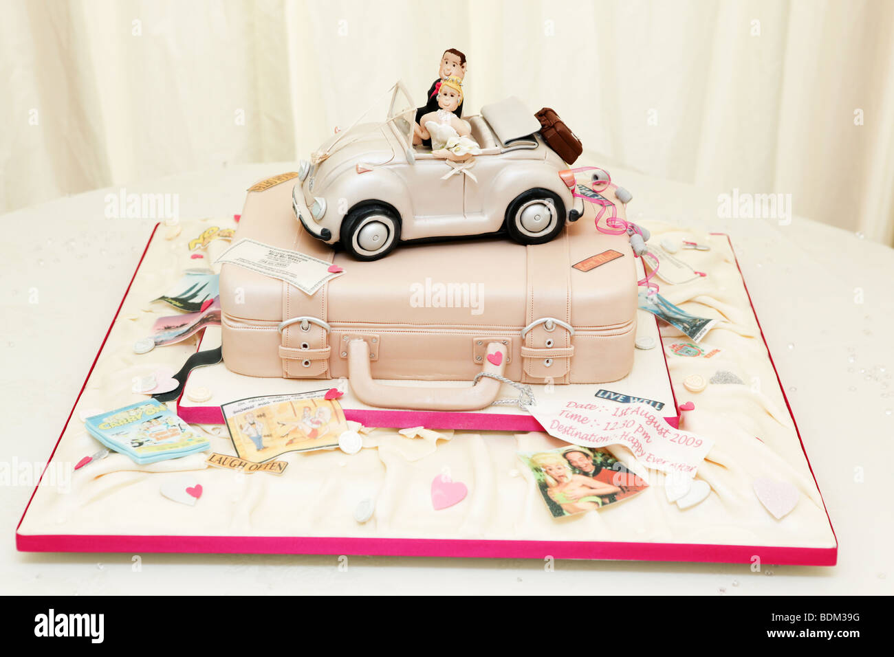 Unusual Different Wedding Cake Design Soft Top Volkswagen Beetle Car Stock Photo Alamy