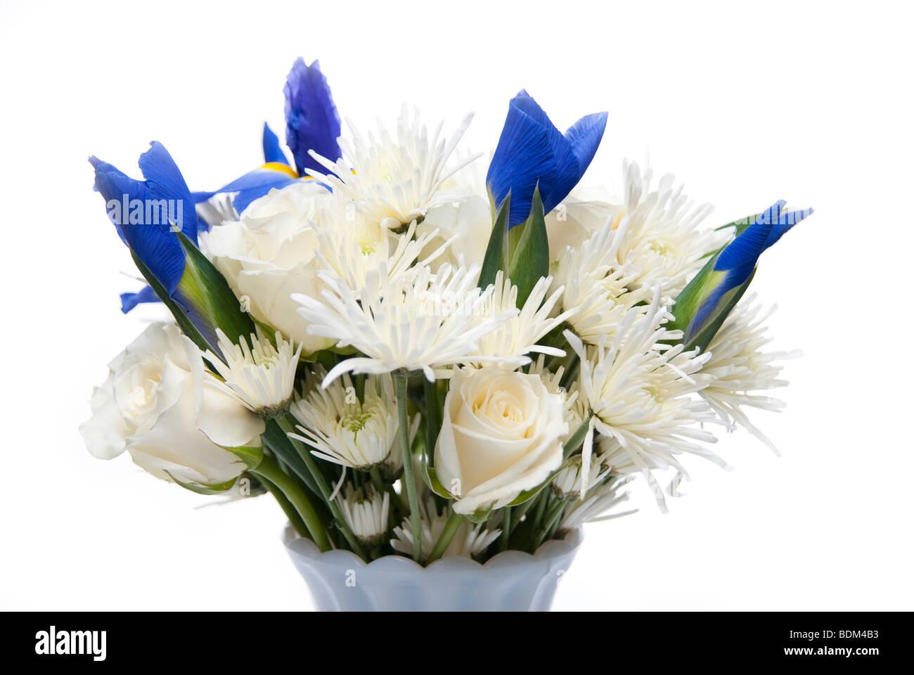 Flower bouquet arrangement of white roses white asters and purple flower bouquet arrangement of white roses white asters and purple irises mightylinksfo