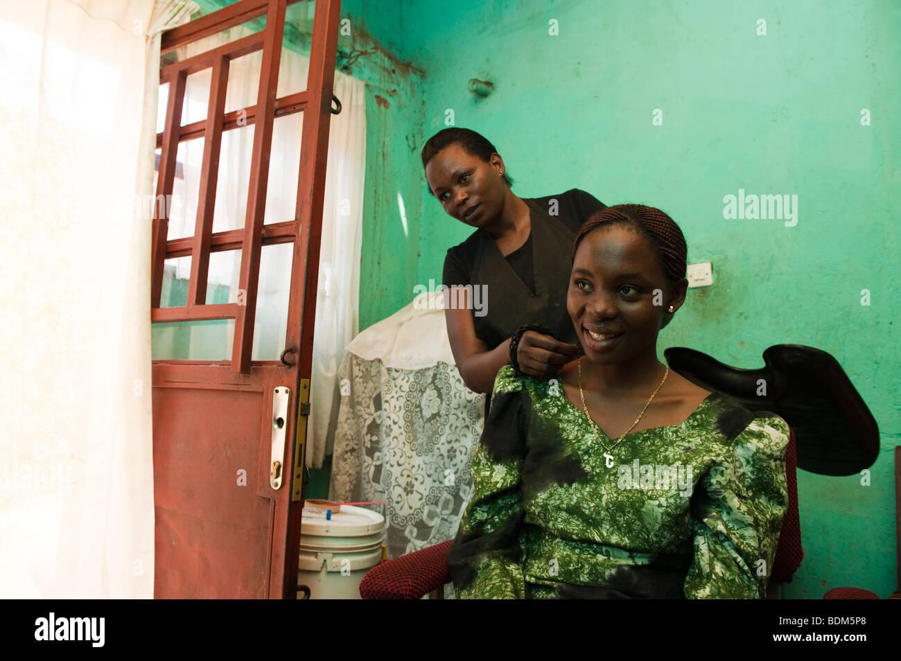 Hairdresser, Kigali, Rwanda - Stock Image