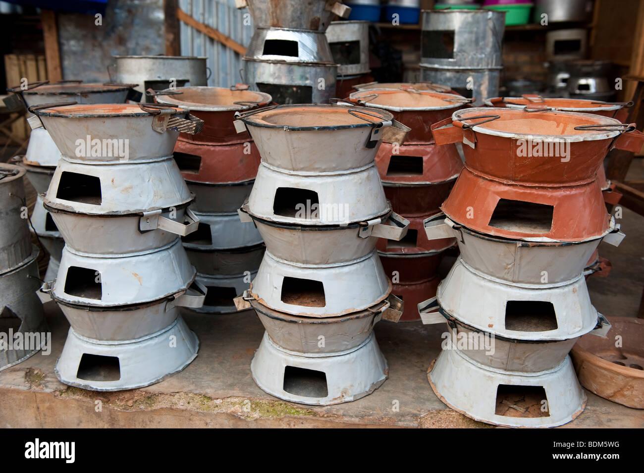 stoves for sale in the market, Kigali, Rwanda - Stock Image
