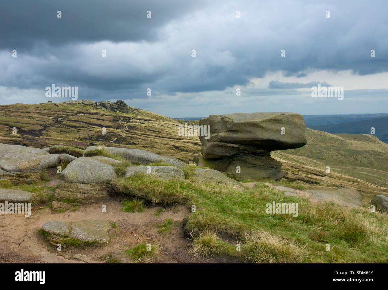 The Noe Stool on Kinder Scout, near Edale, Peak National Park, Derbyshire, England UK - Stock Image