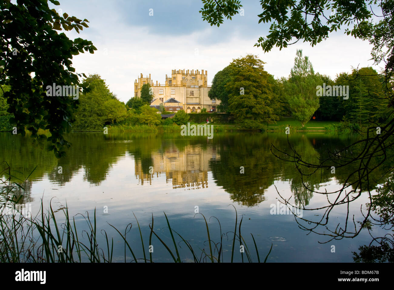 Lake in the grounds of Sherborne Castle, Dorset England - Stock Image