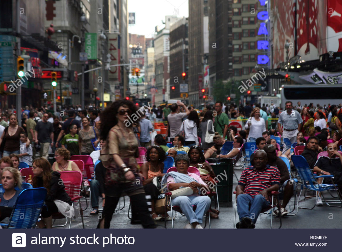 New York, Time Square, NYC, advertising, ads, people, many, USA, America, urban, Manhattan - Stock Image