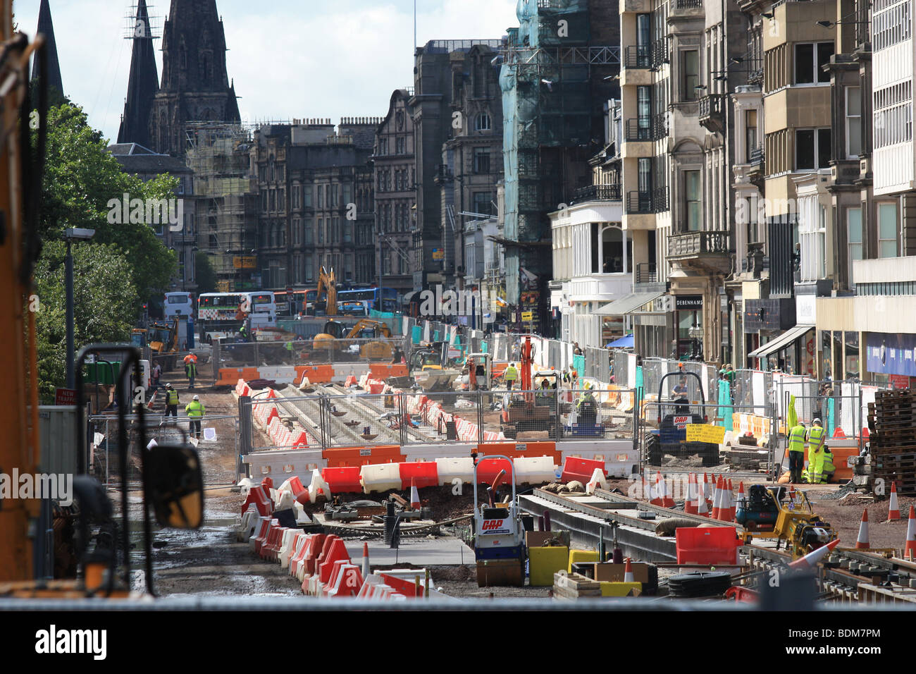 Edinburgh cities tram line being installed along Princes street 2009 - Stock Image