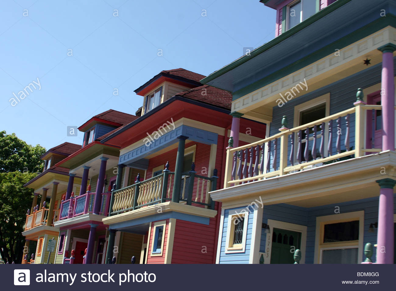 homes, Portland, colorful, colors, cool - Stock Image