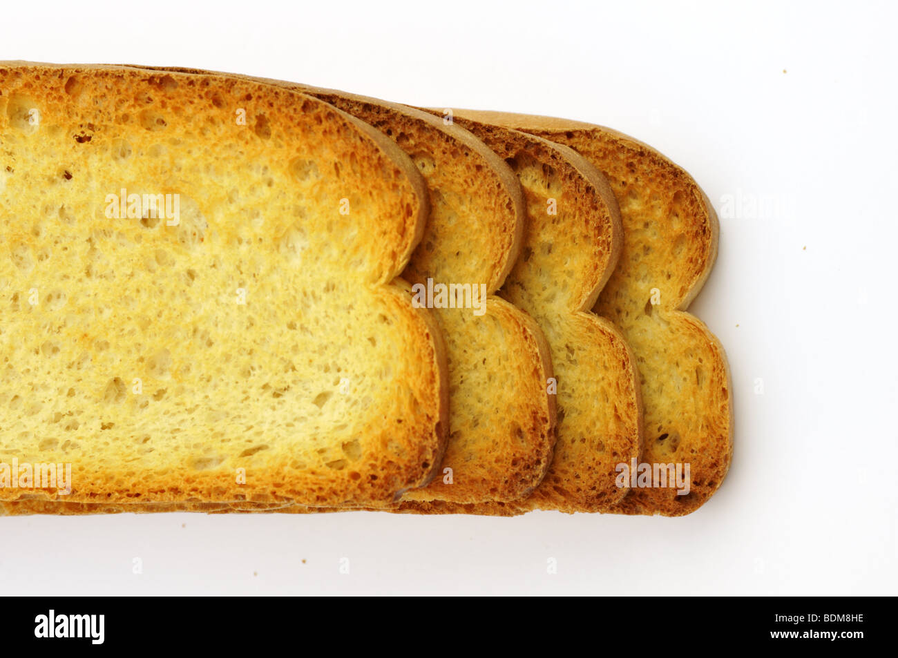 Dried grilled sliced bread. - Stock Image
