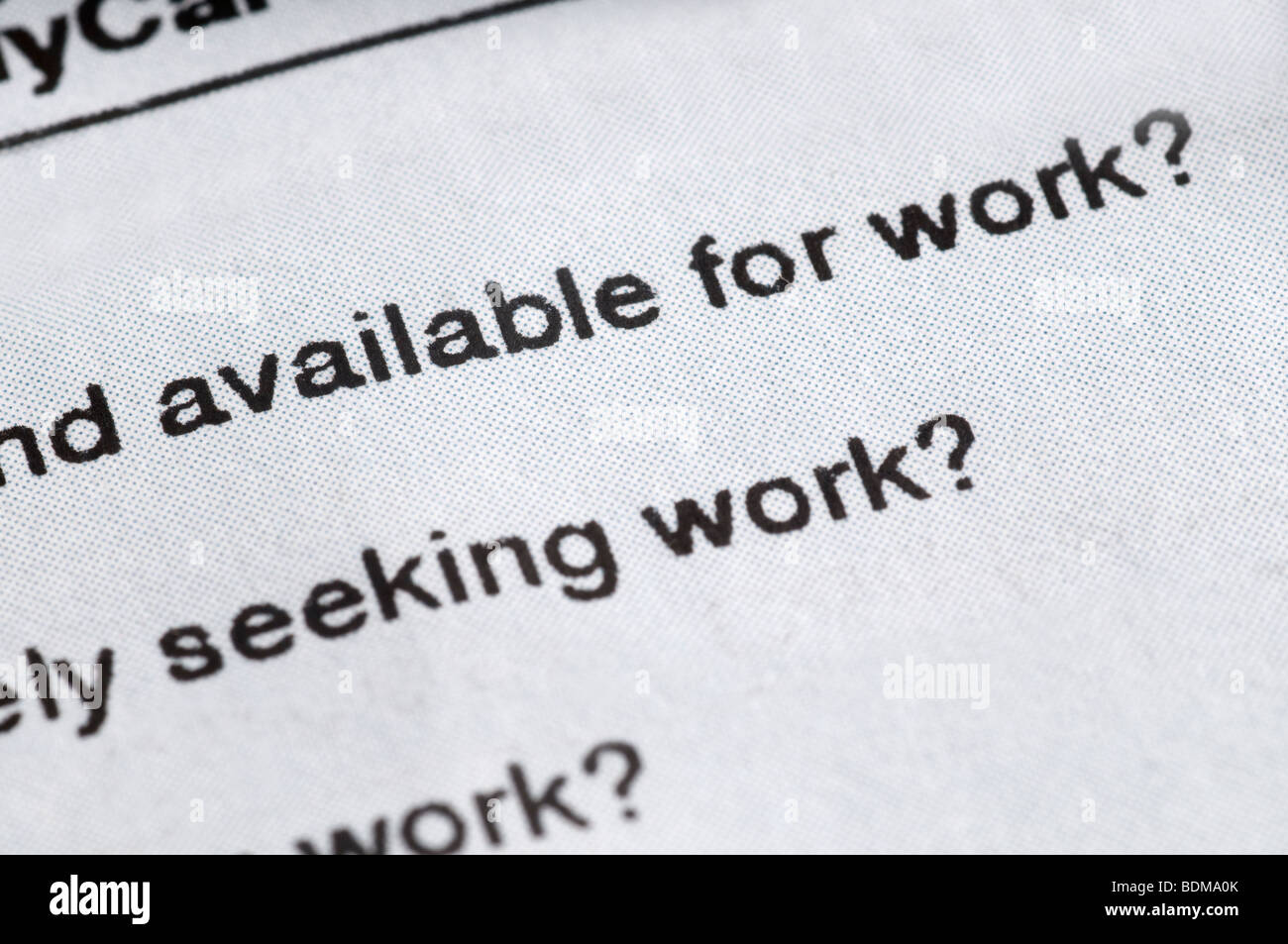 Unemployment insurance claim form questionnaire. - Stock Image