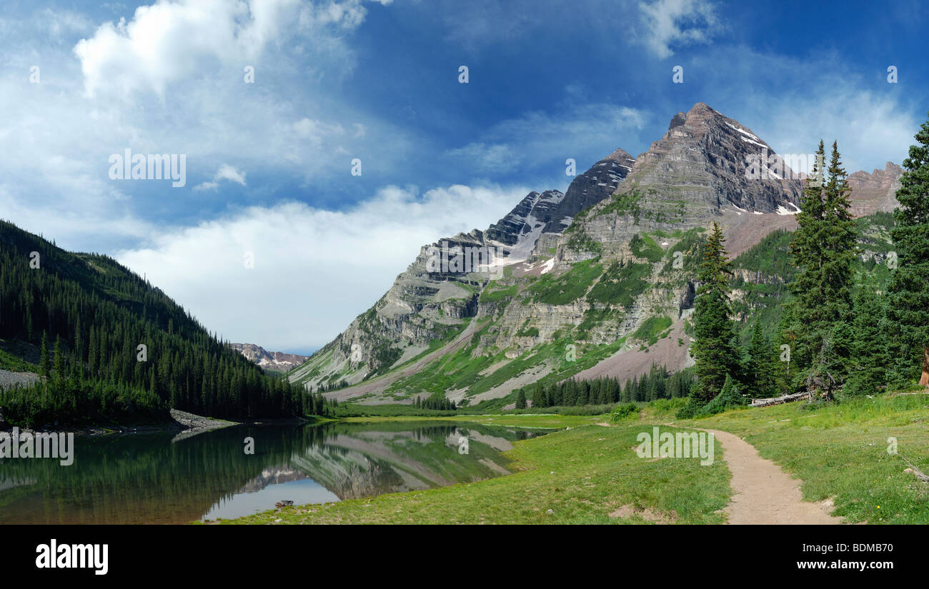 Hiking trail in Maroon Bells Wilderness, central Colorado