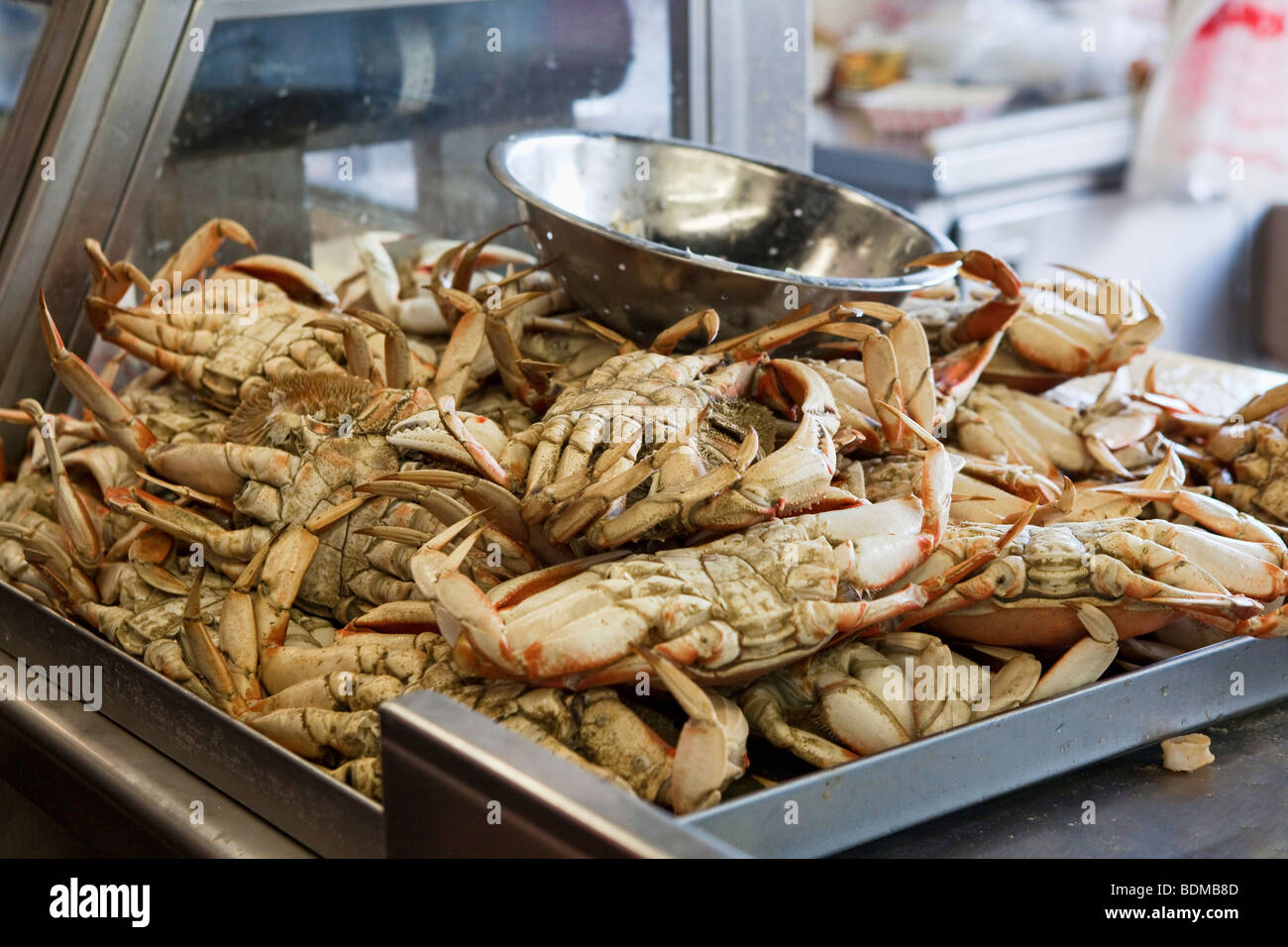 Crabs on sale at a food stall at Fisherman's Wharf in San Francisco, California, USA - Stock Image