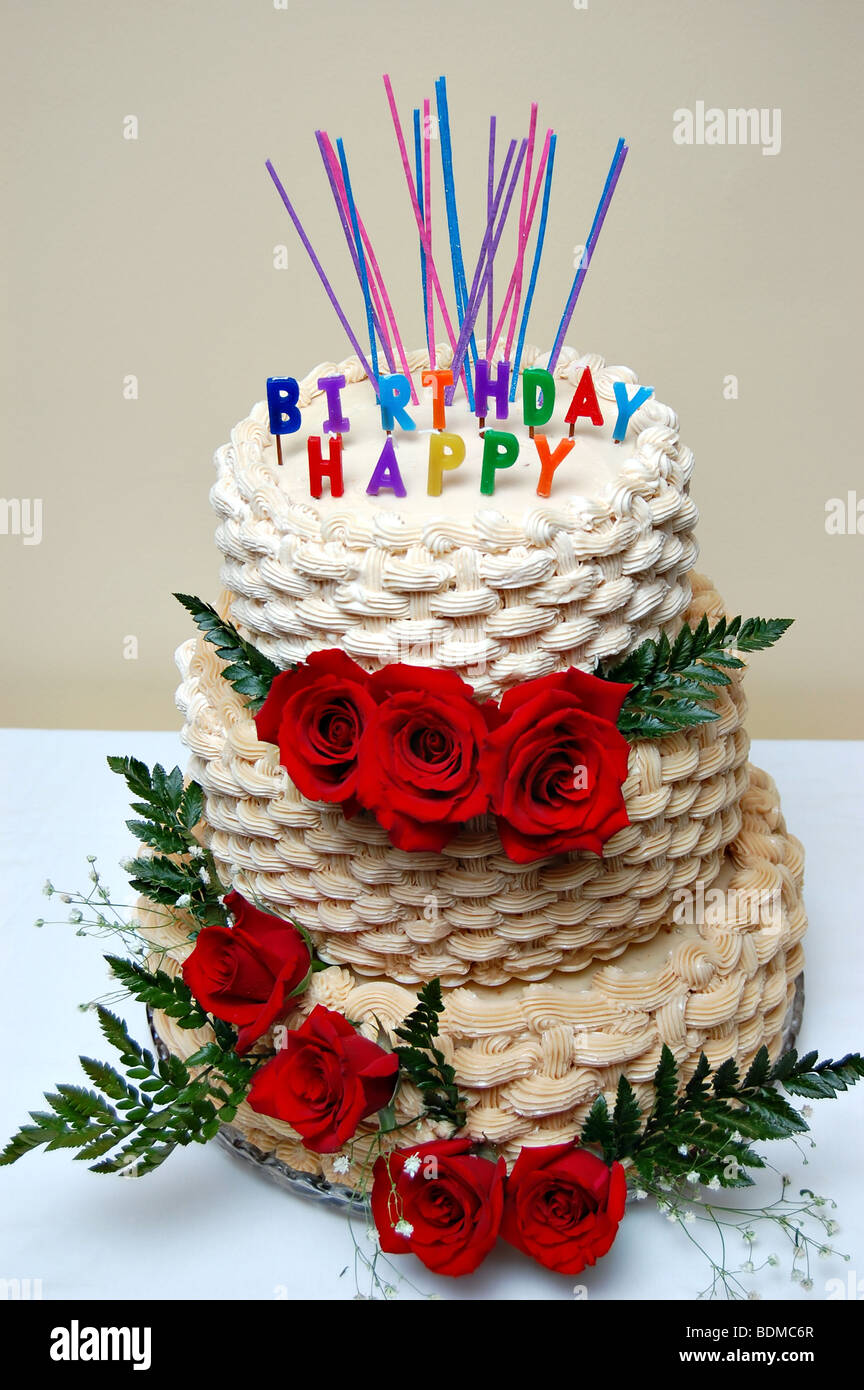 Birthday Cake Decorated With Roses Stock Photo 25649535 Alamy