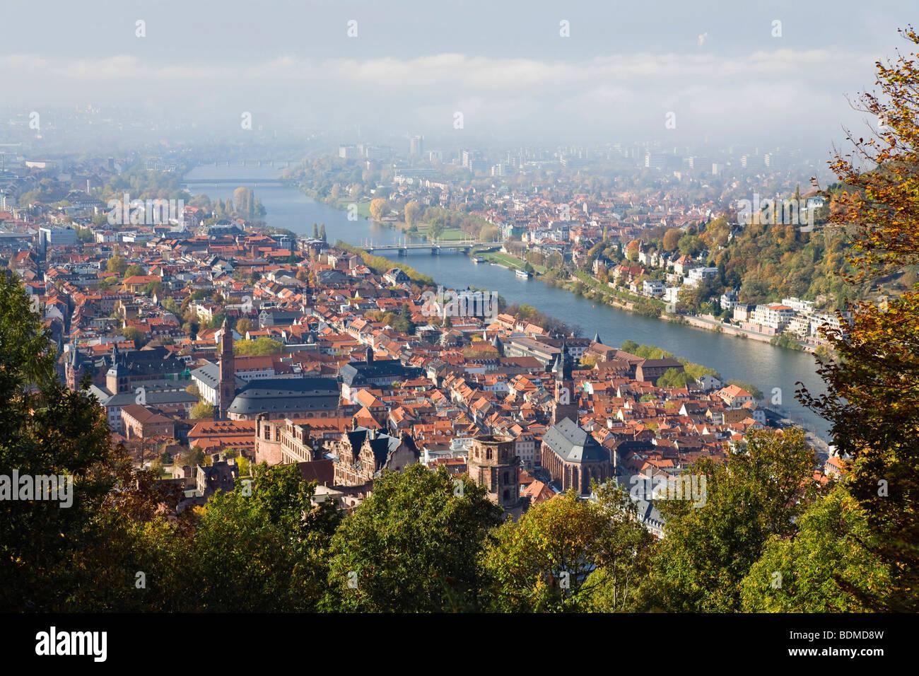 Historic centre of Heidelberg at Neckar River from above, Baden-Wuerttemberg, Germany, Europe Stock Photo