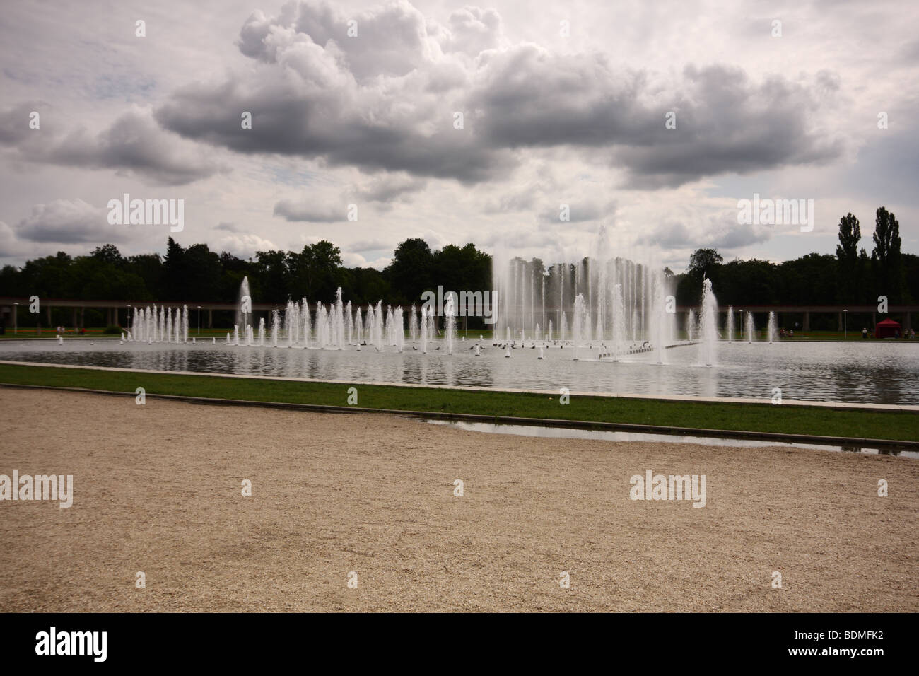 Multimedia fountain in Wroclaw, Poland - Stock Image