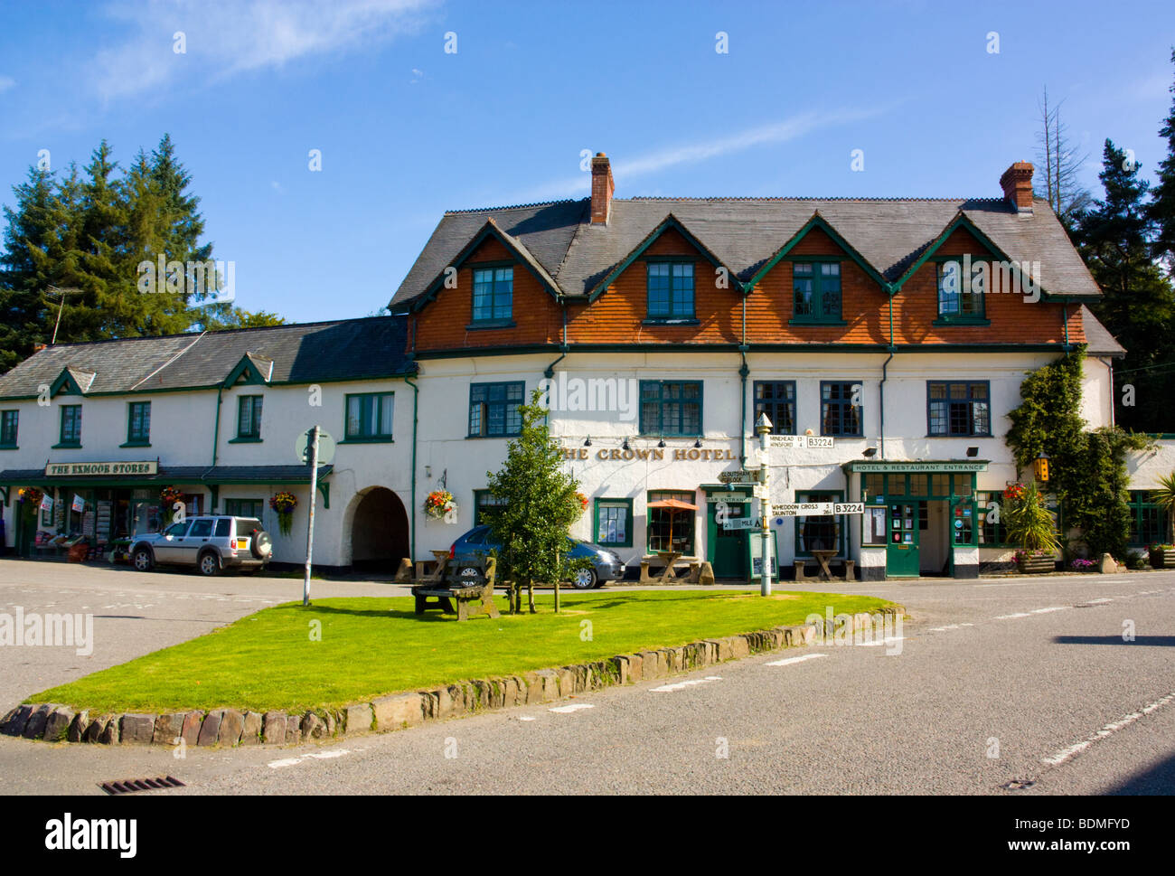 Crown Hotel and Exford Stores at Exford, Somerset England UK - Stock Image