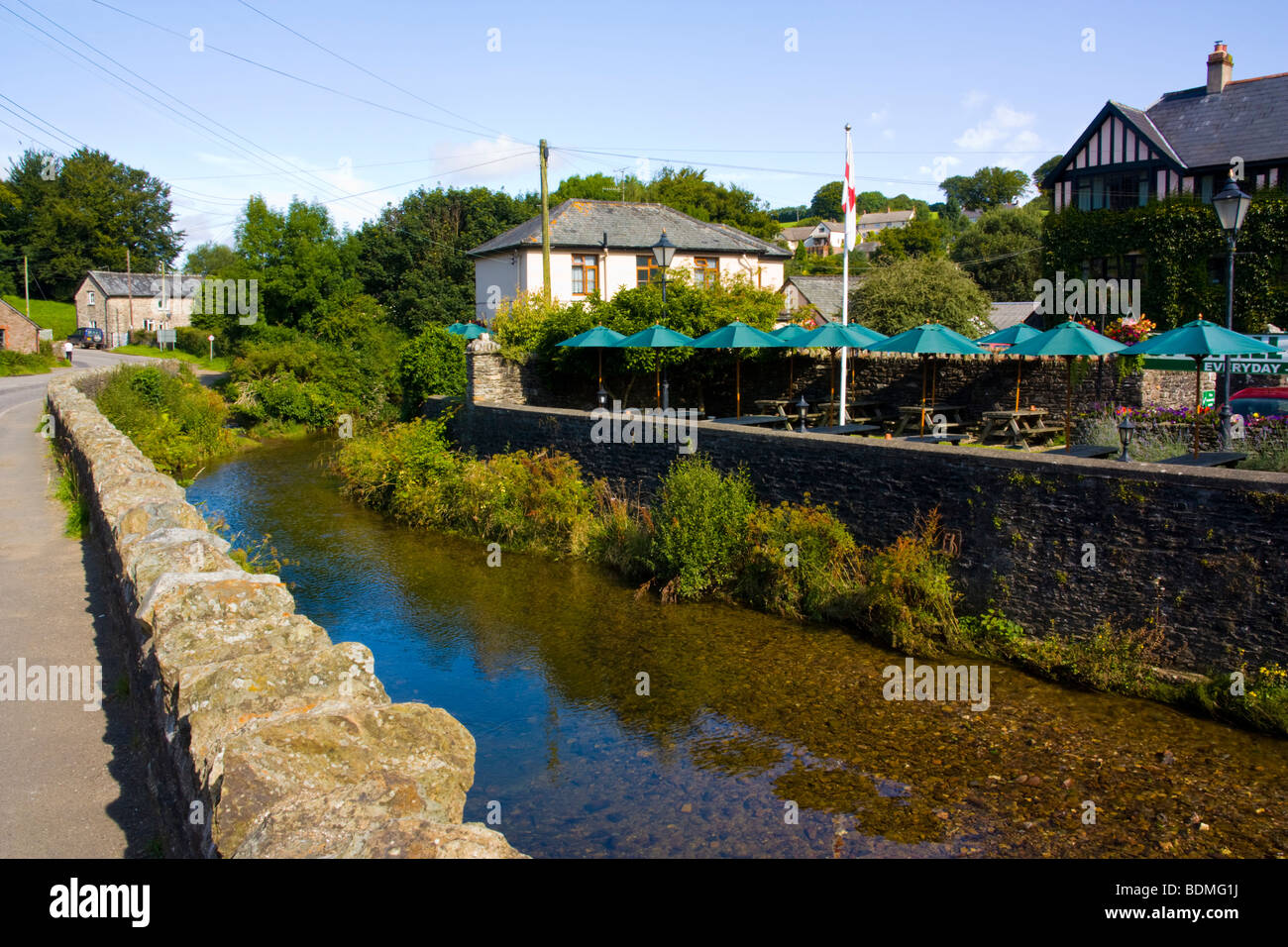 River Exe at Exford Somerset England UK - Stock Image