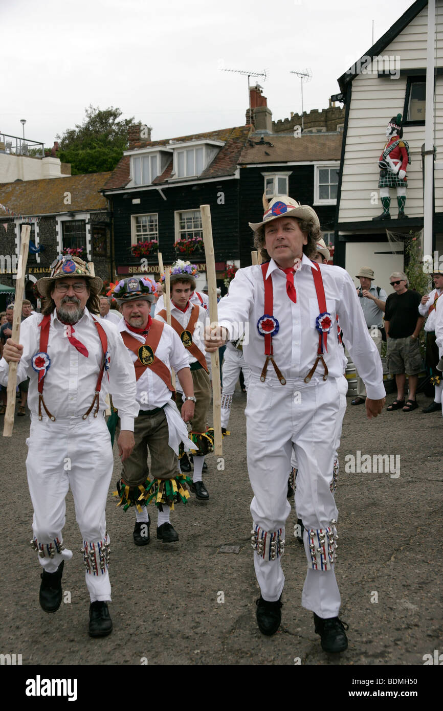 Morris dancers in Broadstairs, Kent, UK - Stock Image