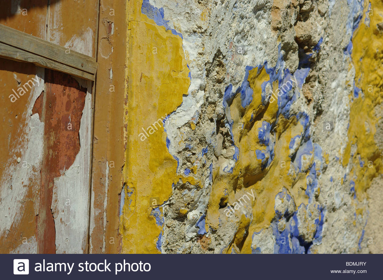 GREECE old stone wall walls ancient paint painted many layers ...