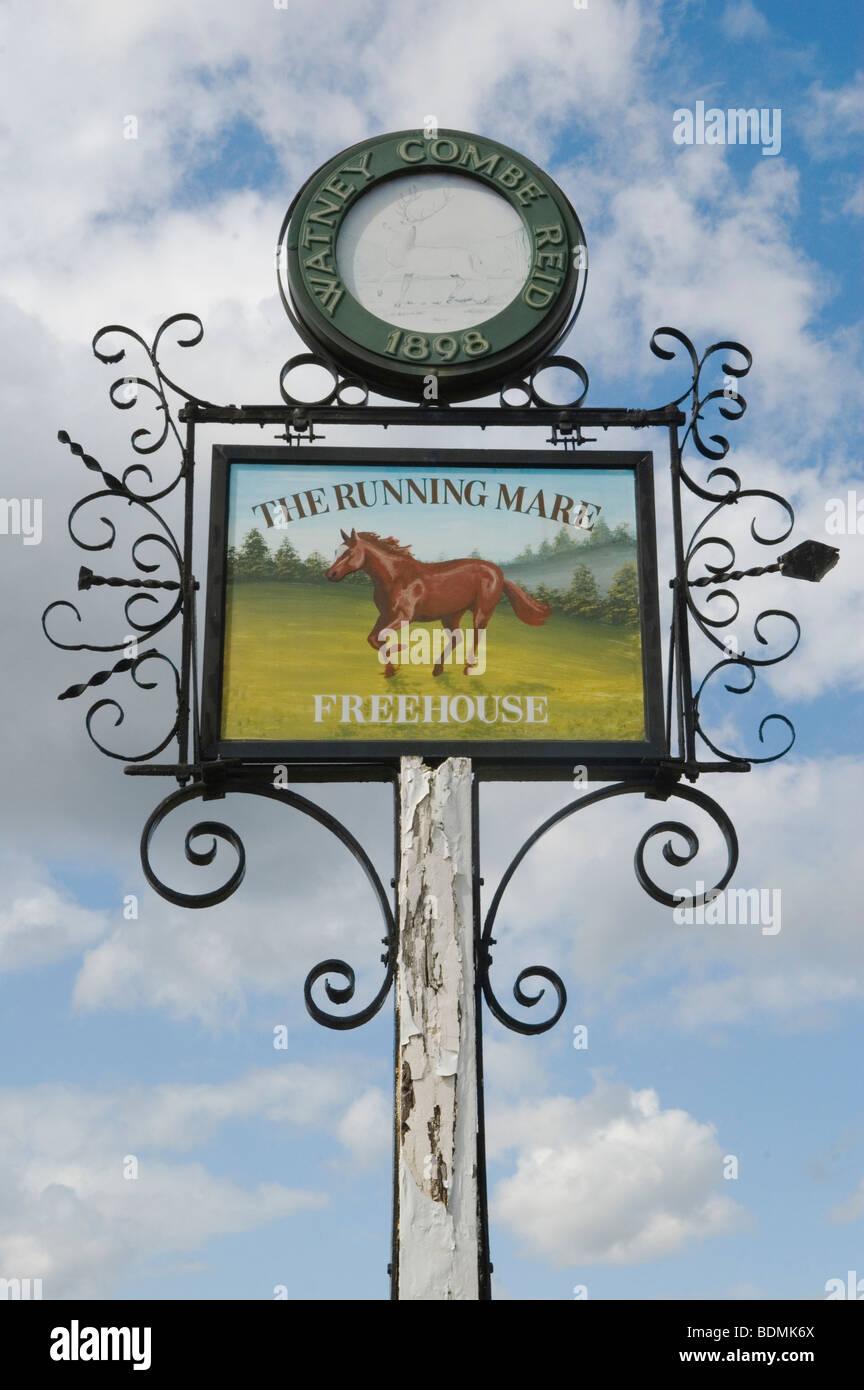 Cobham Surrey England. The village pub sign The Running Mare. Tilt Road Cobham. HOMER SYKES - Stock Image