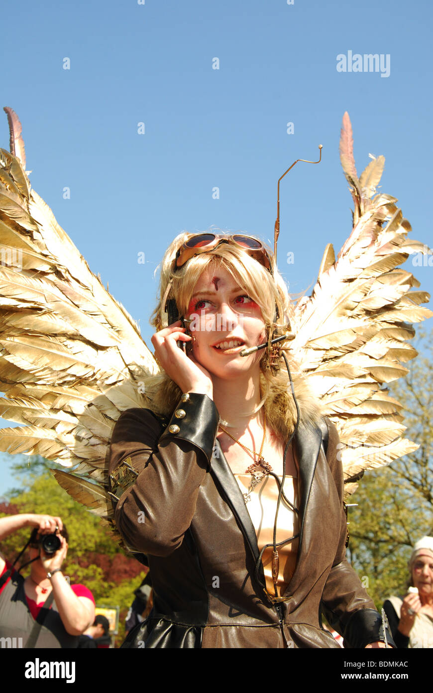 steampunk woman at 2009 Fantasy Fair Haarzuilens Netherlands Europe - Stock Image