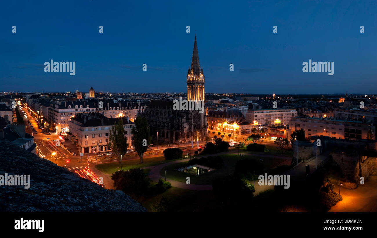 normandy caen skyline by night - Stock Image