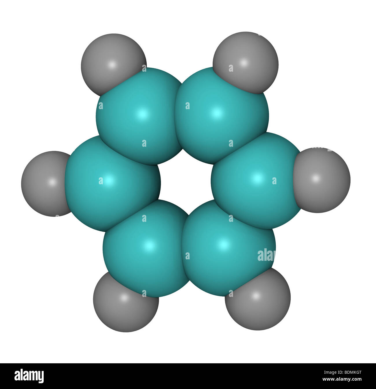 3D computer generated model of the benzene ring - Stock Image