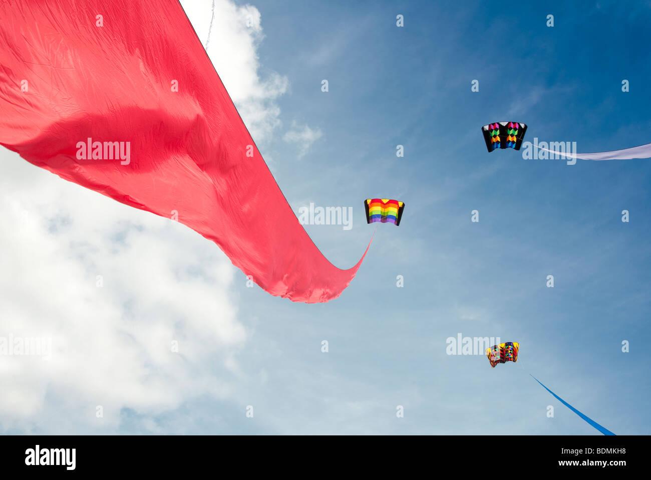kites at a kite festival - Stock Image