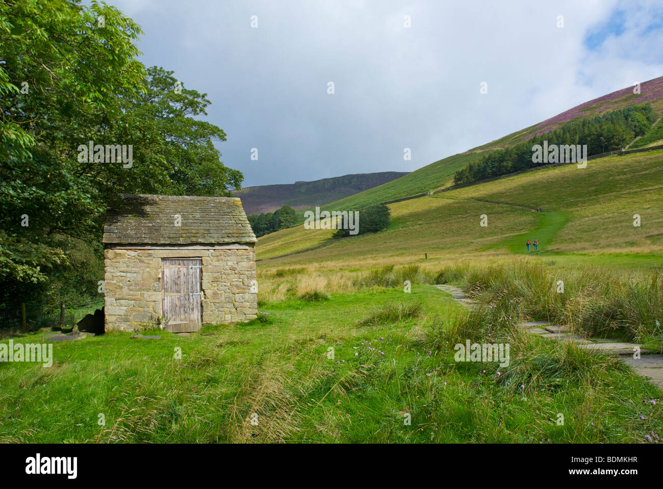 Walkers on path from Edale up to Ringing Roger, Kinder Scout, near Edale, Peak National Park, Derbyshire, England - Stock Image