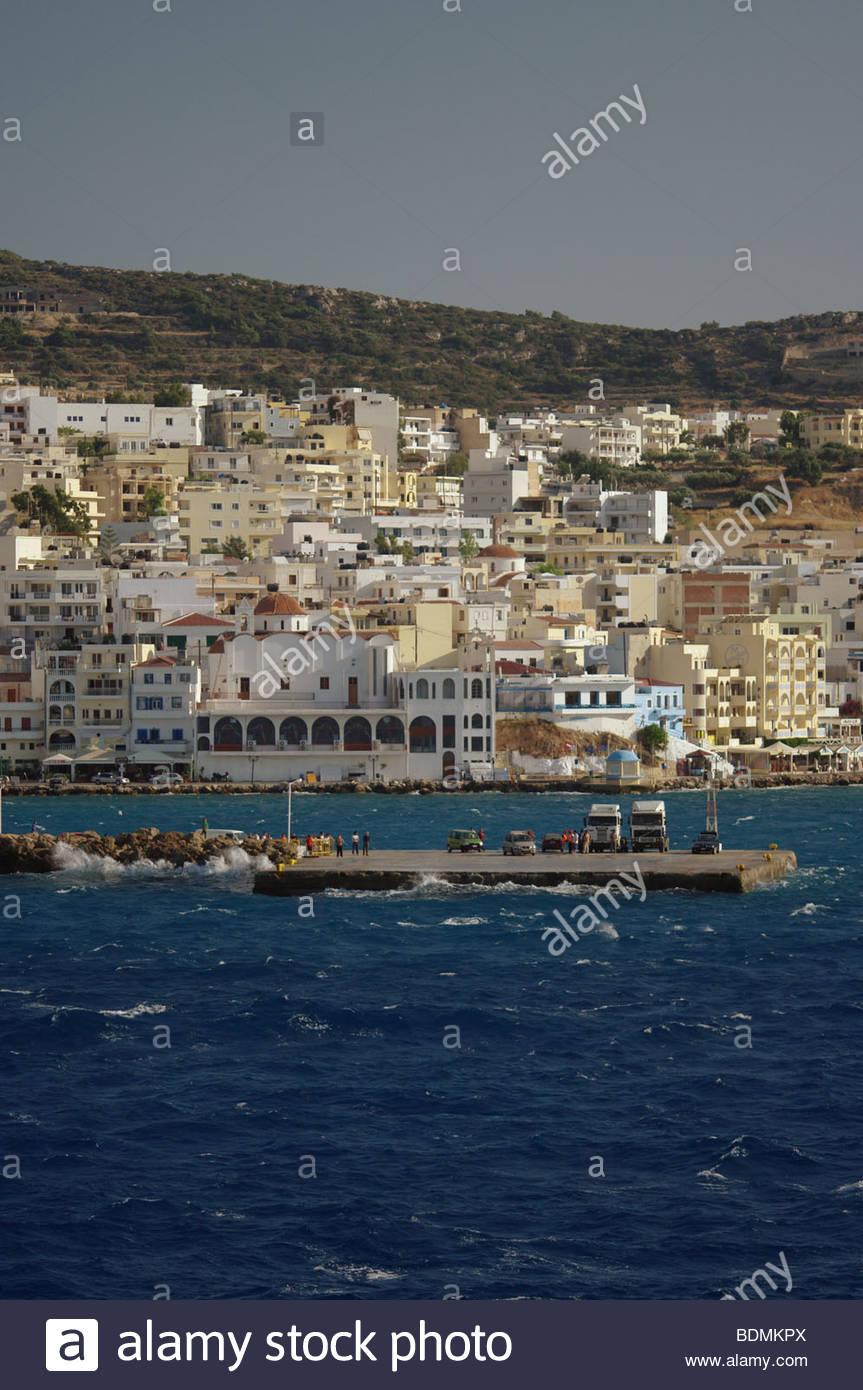 Greece Greek island of KARPATHOS port ports harbor harbor Stock Photo
