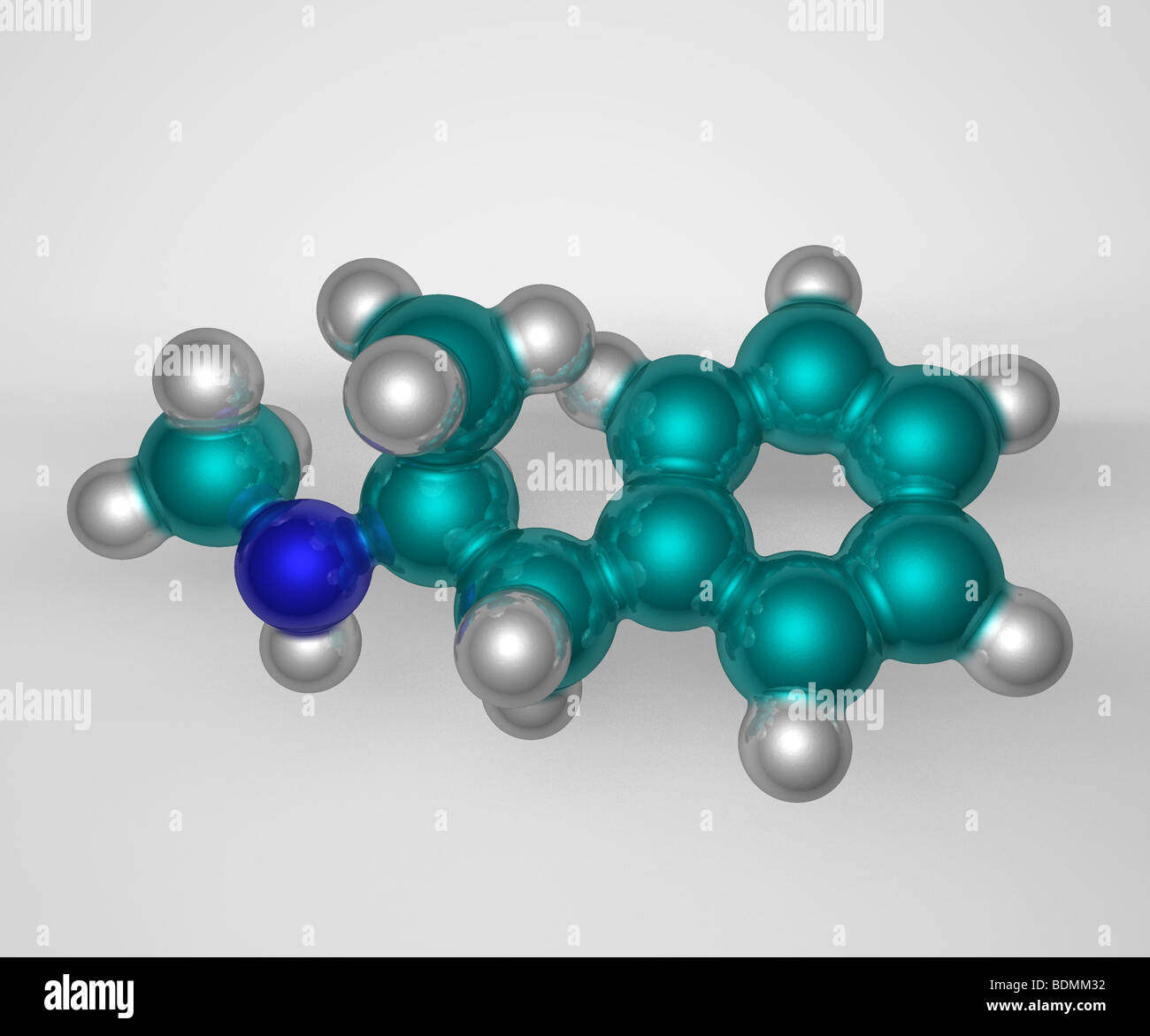 computer-generated, three-dimensional space-filling molecular model of the illegal drug, methamphetamine - Stock Image