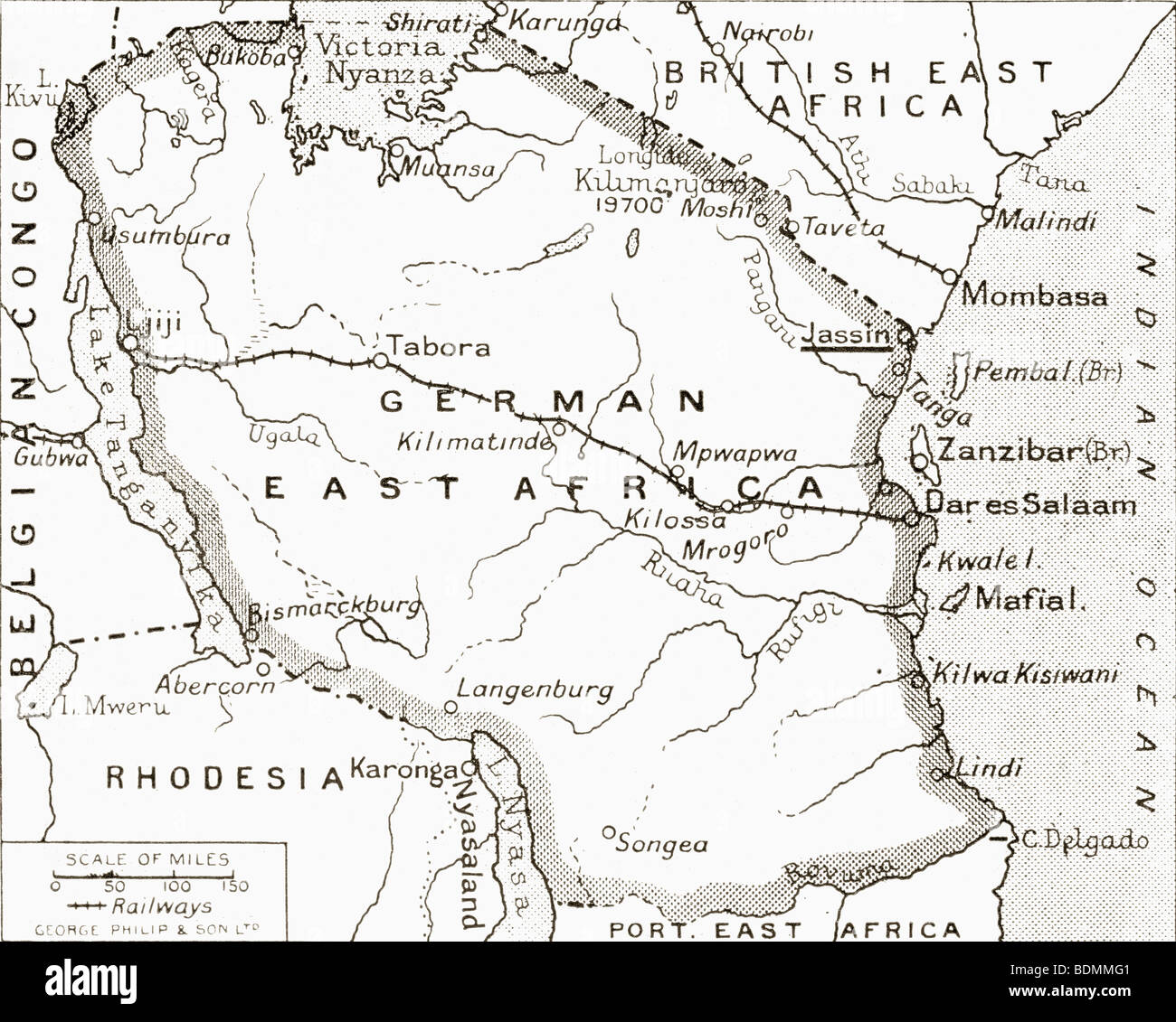map of german east africa showing jassin scene of one of britains campaigns