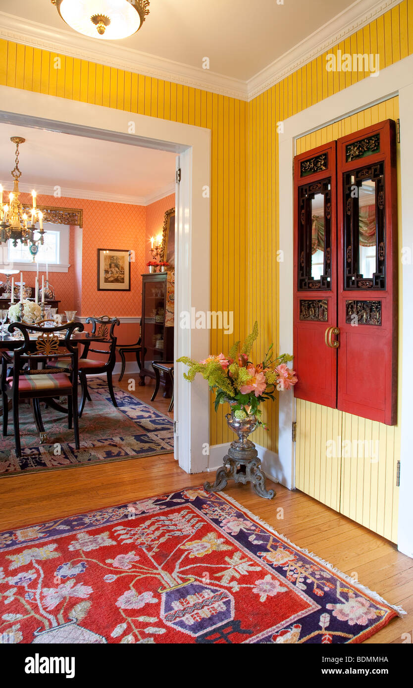 Showcase Home Entryway and Dining Room Interior - Stock Image